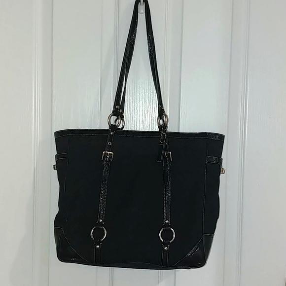 Coach Jacquard Patent Leather Bag Purse Tote